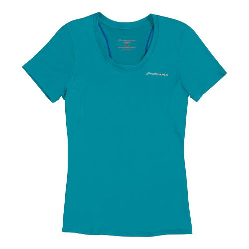 Womens Brooks Equilibrium II Short Sleeve Technical Tops - Caribbean M