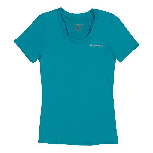Womens Brooks Equilibrium II Short Sleeve Technical Tops - Caribbean XL