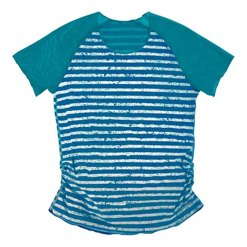 Womens Brooks D'lite Reversible Short Sleeve Technical Tops - Caribbean/Electric White Stripe S