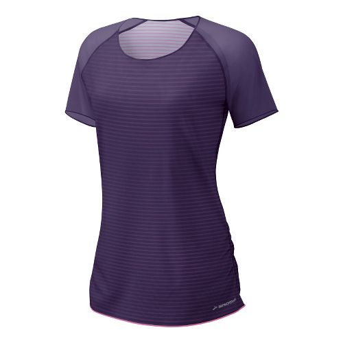 Womens Brooks D'lite Reversible Short Sleeve Technical Tops - Eggplant/Brite Pink Stripe Print L