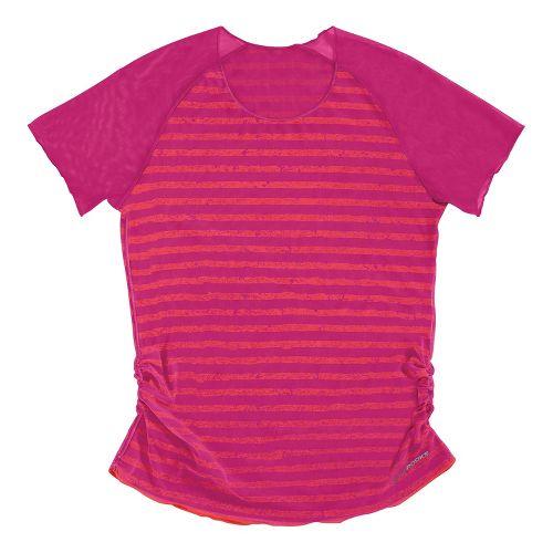 Womens Brooks D'lite Reversible Short Sleeve Technical Tops - Fuchsia/Fuchsia Poppy Stripe XL