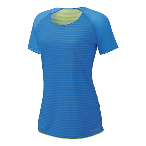 Womens Brooks D'lite Reversible Short Sleeve Technical Tops - Neptune/Nightlife Stripe XS