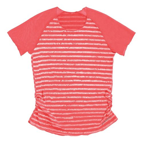 Womens Brooks D'lite Reversible Short Sleeve Technical Tops - Poppy/Poppy White Stripe XL