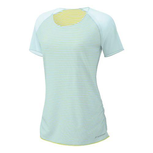 Womens Brooks D'lite Reversible Short Sleeve Technical Tops - Sea Foam/Nightlife Stripe L