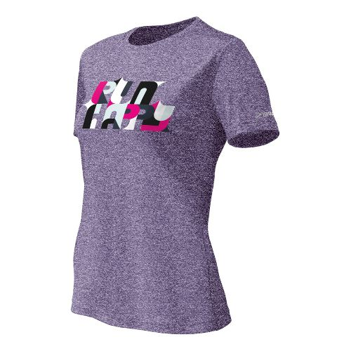 Womens Brooks EZ T II Bold Run Happy Short Sleeve Technical Tops - Eggplant XL ...