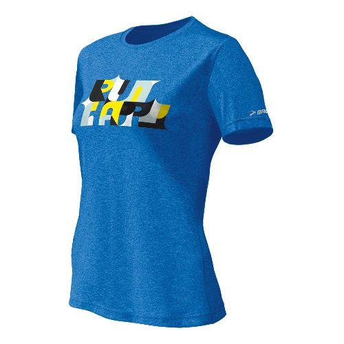Womens Brooks EZ T II Bold Run Happy Short Sleeve Technical Tops - Neptune XL ...