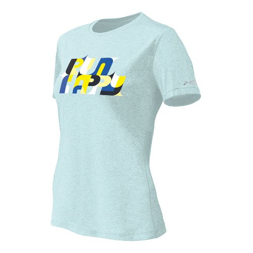 Womens Brooks EZ T II Bold Run Happy Short Sleeve Technical Tops - Sea Foam ...