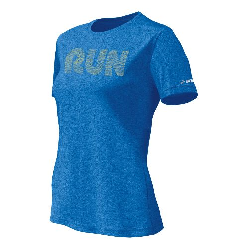 Womens Brooks EZ T II Run Mist Short Sleeve Technical Tops - Neptune L