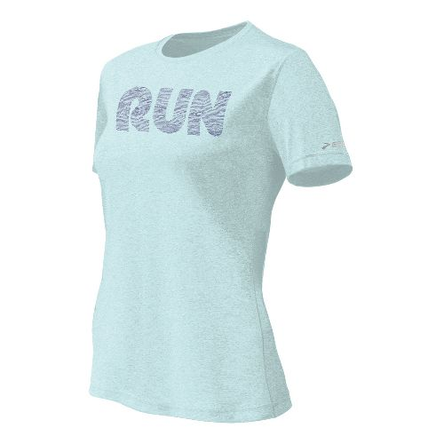 Womens Brooks EZ T II Run Mist Short Sleeve Technical Tops - Sea Foam XS ...