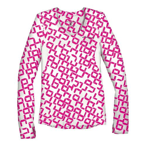 Womens Brooks Equilibrium II Long Sleeve No Zip Technical Tops - Bright Pink Digi Print/White ...