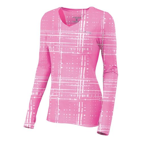 Womens Brooks Equilibrium II Long Sleeve No Zip Technical Tops - Brite Pink Hatch S ...