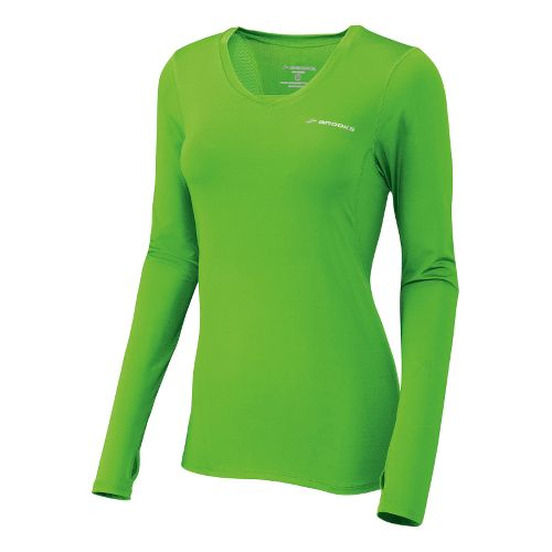 Womens Brooks Equilibrium II Long Sleeve No Zip Technical Tops - Brite Green/Brite White M ...