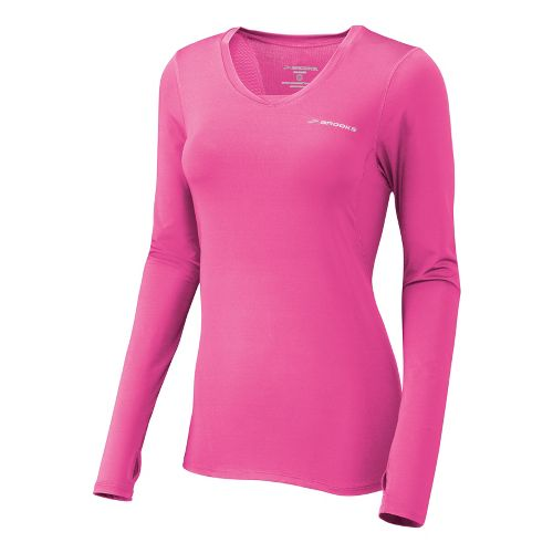 Womens Brooks Equilibrium II Long Sleeve No Zip Technical Tops - Brite Pink/Nightlife XS