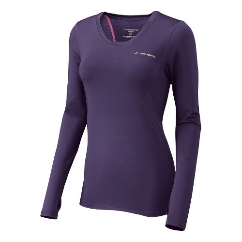 Womens Brooks Equilibrium II Long Sleeve No Zip Technical Tops - Eggplant L