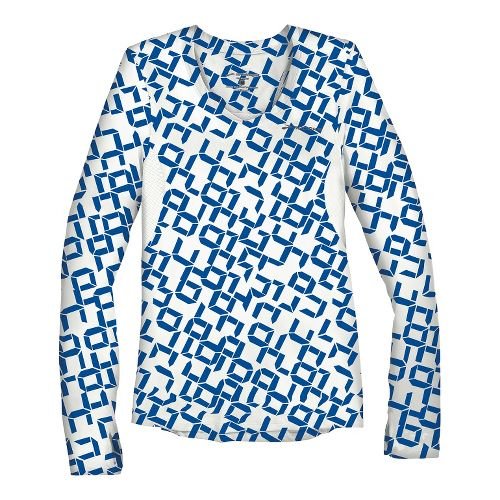 Womens Brooks Equilibrium II Long Sleeve No Zip Technical Tops - Electric Digi Print/White S ...