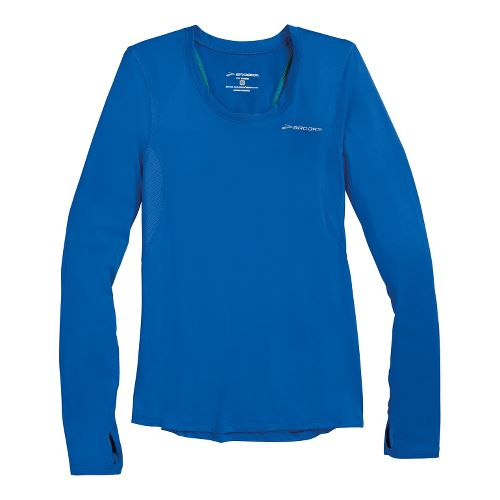 Womens Brooks Equilibrium II Long Sleeve No Zip Technical Tops - Electric S
