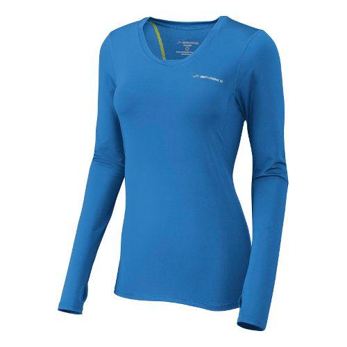Womens Brooks Equilibrium II Long Sleeve No Zip Technical Tops - Neptune S