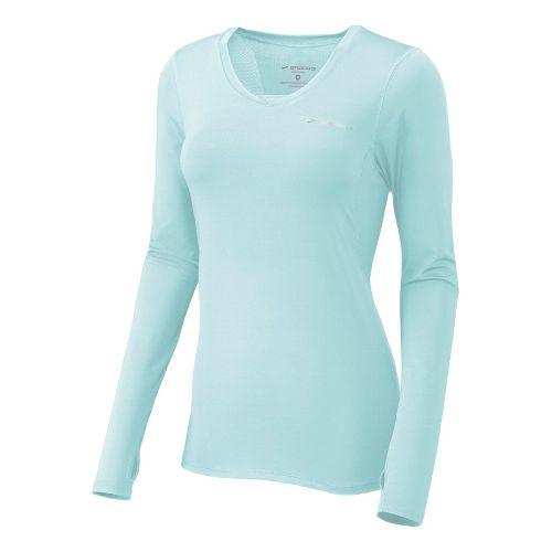 Womens Brooks Equilibrium II Long Sleeve No Zip Technical Tops - Sea Foam L