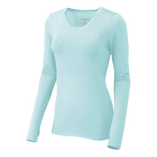 Womens Brooks Equilibrium II Long Sleeve No Zip Technical Tops - Sea Foam XL