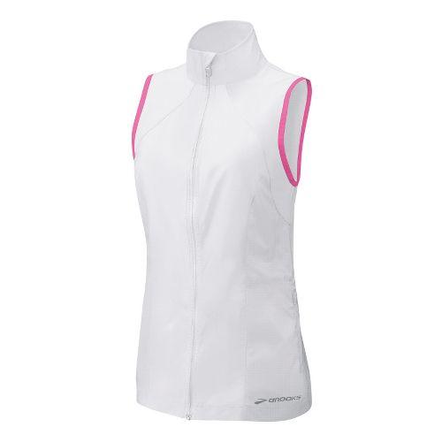 Womens Brooks LSD Lite Vest Running Vests - White/Brite Pink S