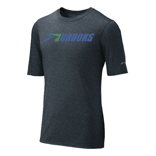 Mens Brooks EZ T III Retro Brooks Short Sleeve Technical Tops - Anthracite L