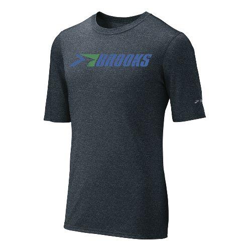 Mens Brooks EZ T III Retro Brooks Short Sleeve Technical Tops - Anthracite/Galaxy L