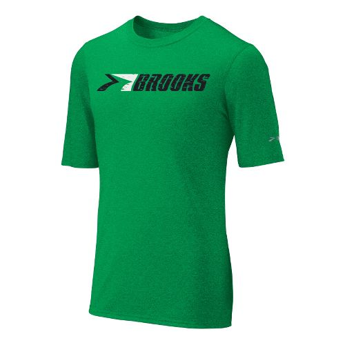 Mens Brooks EZ T III Retro Brooks Short Sleeve Technical Tops - Fern L