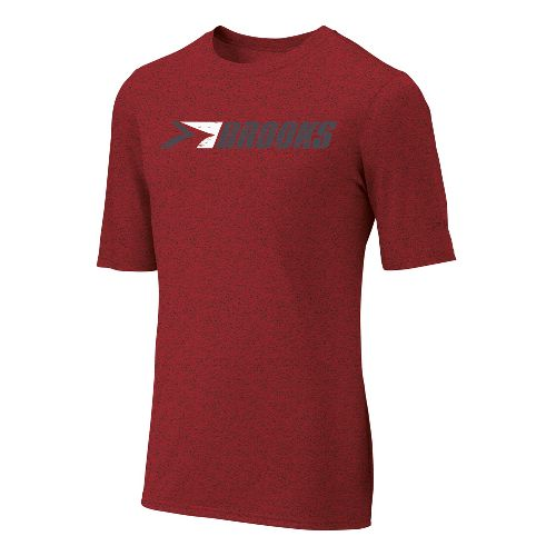 Mens Brooks EZ T III Retro Brooks Short Sleeve Technical Tops - Lava S