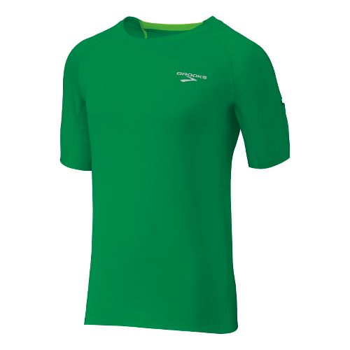 Mens Brooks Equilibrium SS II Short Sleeve Technical Tops - Envy/Brite Green XL