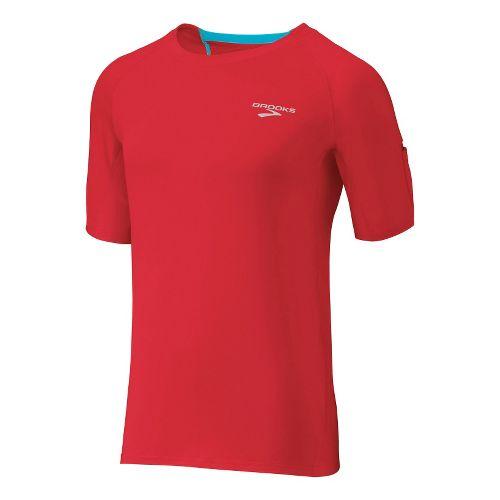 Mens Brooks Equilibrium SS II Short Sleeve Technical Tops - Lava/Cyan XL