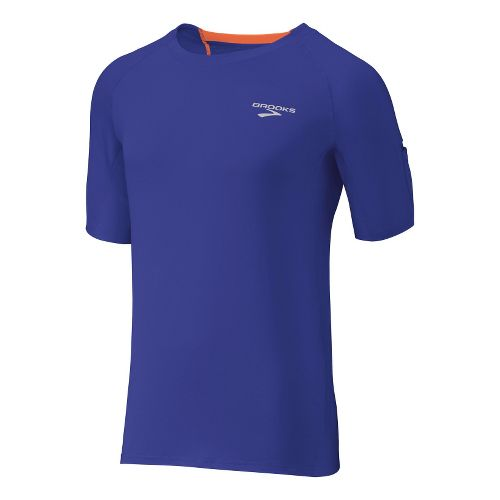 Mens Brooks Equilibrium SS II Short Sleeve Technical Tops - Ultra Marine/Brite Orange XXL