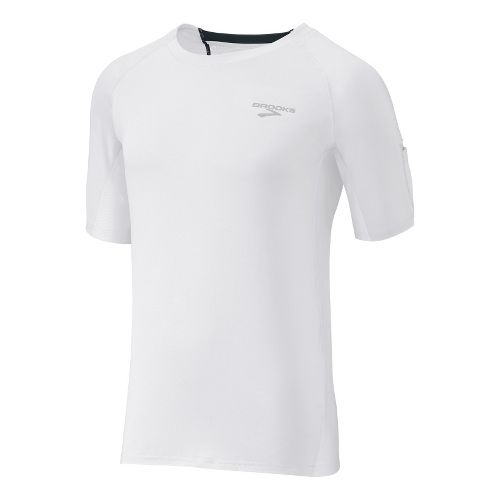 Mens Brooks Equilibrium SS II Short Sleeve Technical Tops - White/Anthracite L