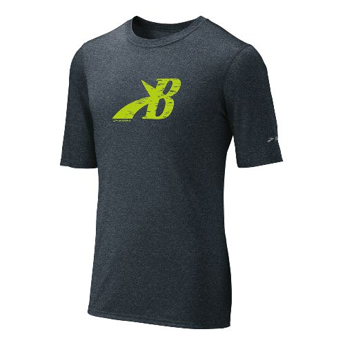 Mens Brooks EZ T III Flying B Short Sleeve Technical Tops - Anthracite XXL