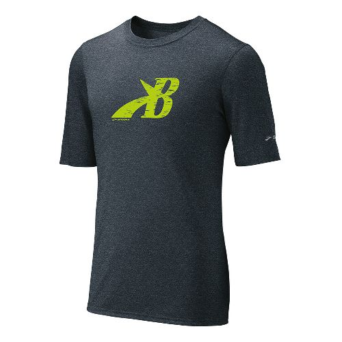 Mens Brooks EZ T III Flying B Short Sleeve Technical Tops - Anthracite/Nightlife L