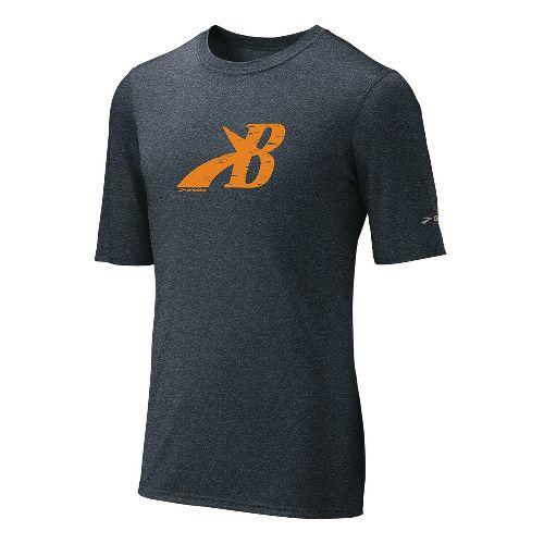 Mens Brooks EZ T III Flying B Short Sleeve Technical Tops - Anthracite/Orange L