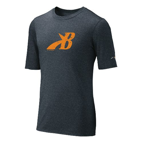 Mens Brooks EZ T III Flying B Short Sleeve Technical Tops - Anthracite/Orange XXL