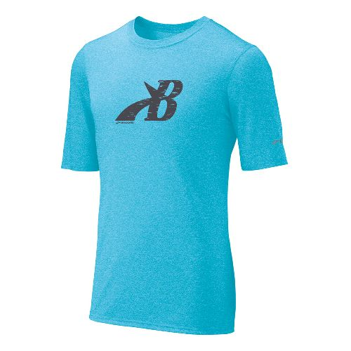 Mens Brooks EZ T III Flying B Short Sleeve Technical Tops - Cyan L
