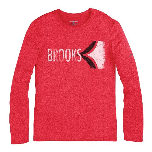 Mens Brooks EZ T III Retro Brooks Long Sleeve No Zip Technical Tops - Americana ...