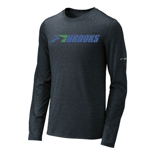 Mens Brooks EZ T III Retro Brooks Long Sleeve No Zip Technical Tops - Anthracite ...