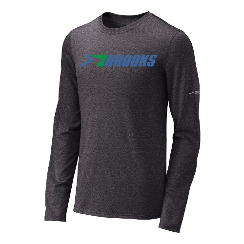 Mens Brooks EZ T III Retro Brooks Long Sleeve No Zip Technical Tops - Anthracite/Galaxy ...