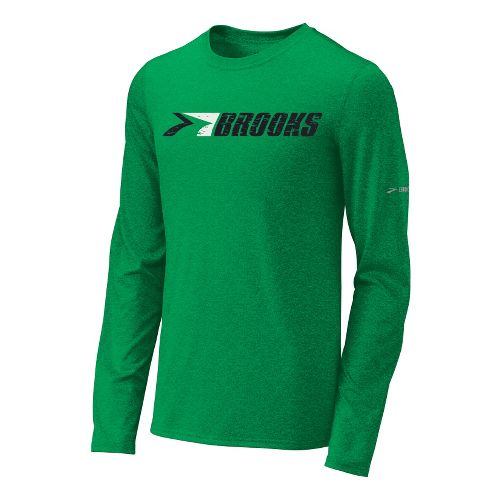 Mens Brooks EZ T III Retro Brooks Long Sleeve No Zip Technical Tops - Fern ...