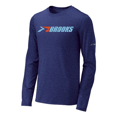 Mens Brooks EZ T III Retro Brooks Long Sleeve No Zip Technical Tops - Ultra ...