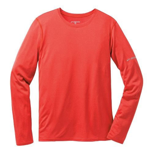 Mens Brooks EZ T III Long Sleeve No Zip Technical Tops - Heather Mars L ...