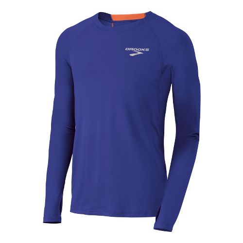 Mens Brooks Equilibrium LS II Long Sleeve No Zip Technical Tops - Ultra Marine/Brite Orange ...