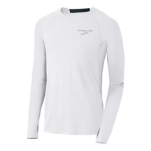 Mens Brooks Equilibrium LS II Long Sleeve No Zip Technical Tops - White/Anthracite M