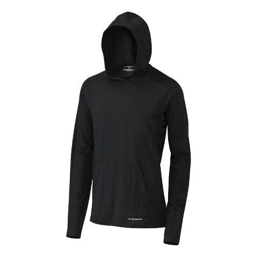 Mens Brooks Essential Hoodie Long Sleeve No Zip Technical Tops - Black L