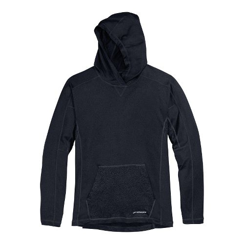 Mens Brooks Essential Hoodie Long Sleeve No Zip Technical Tops - Heather Black S