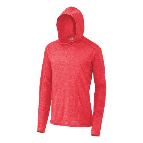 Mens Brooks Essential Hoodie Long Sleeve No Zip Technical Tops - Lava M