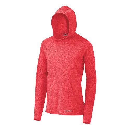 Mens Brooks Essential Hoodie Long Sleeve No Zip Technical Tops - Lava XXL