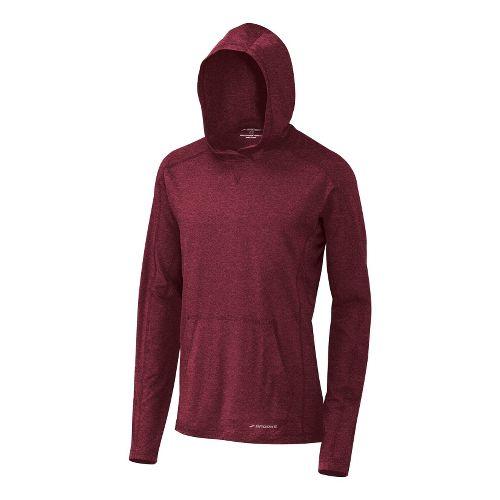 Mens Brooks Essential Hoodie Long Sleeve No Zip Technical Tops - Matador XL